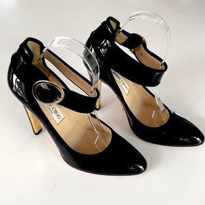 Jimmy Choo Black Patent Ankle Strap Heels